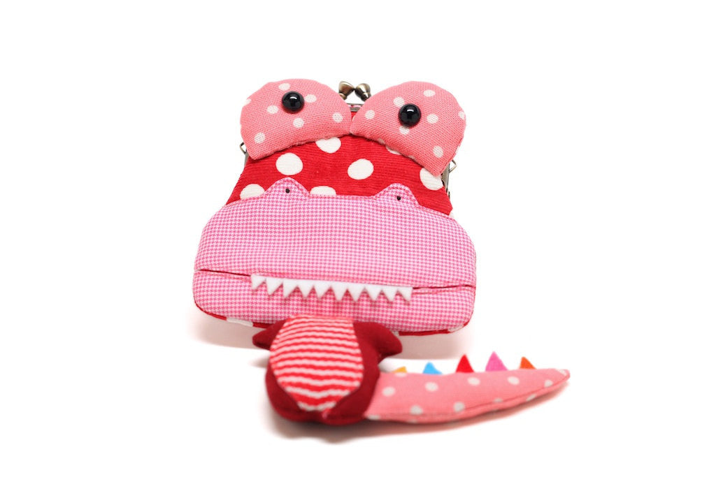 Little hibiscus red crocodile clutch purse