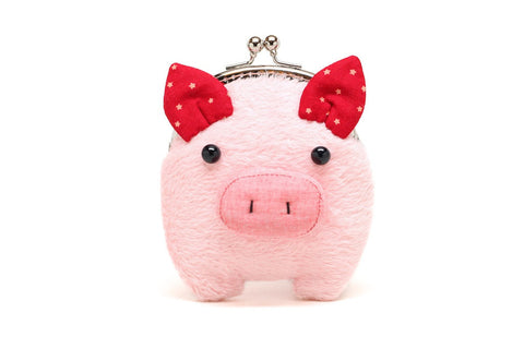 Pink furry piggy clutch purse
