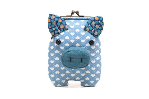 Indigo hearts piggy card holder wallet