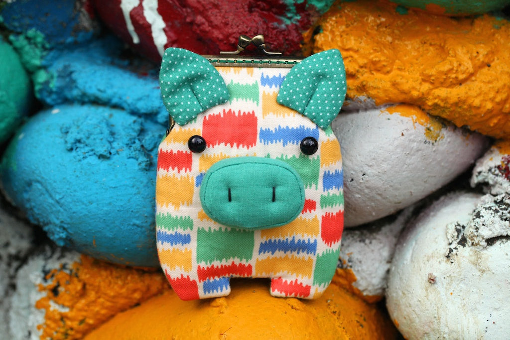 Pastel camouflage piggy card holder wallet
