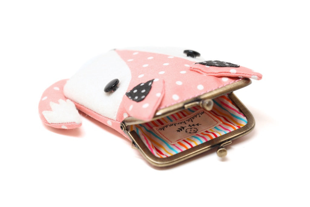 Peachy pink fox card holder wallet