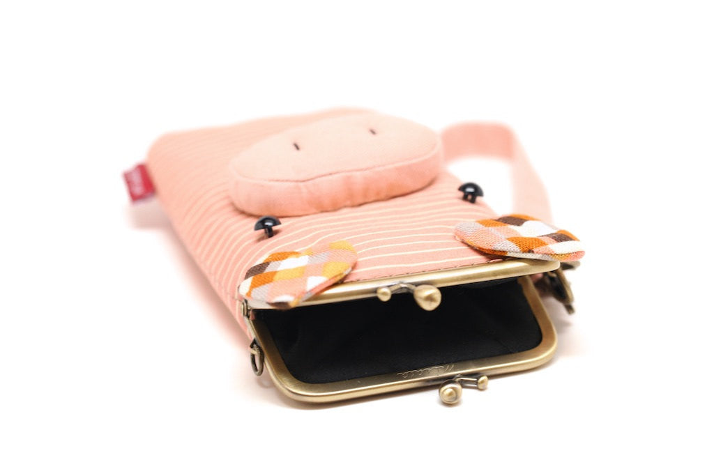 Puzzled pink piggy smartphone kisslock sleeve