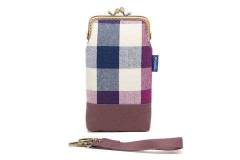 Purple plaid smartphone kisslock sleeve