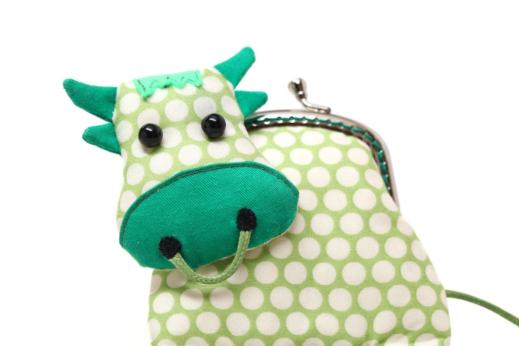 Little grassy green cow clutch purse