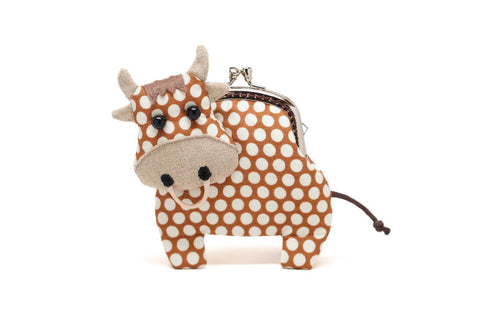 Little chocolate brown cow clutch purse