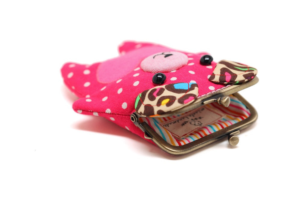 Bear my love pink hearty card holder wallet