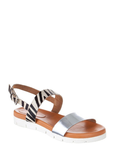 NAFRIKA Ladies footbed Leather Sandal in zebra and silver