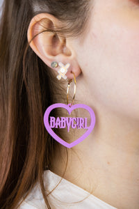 Babygirl Bubblegum Pink Acrylic Earrings