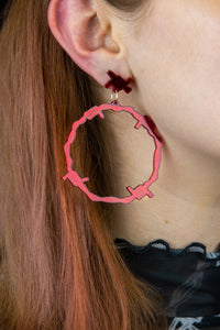 Red Mirror Barbed Wire Earrings