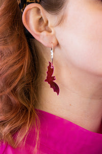 Pink Mirror Acrylic Bat Earrings