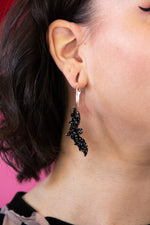 Load image into Gallery viewer, Black Glitter Acrylic Bat Earrings