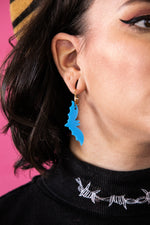 Load image into Gallery viewer, Light Blue Acrylic Bat Earrings