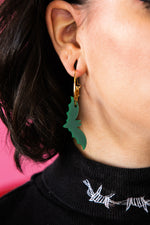 Load image into Gallery viewer, Dark Green Acrylic Bat Earrings