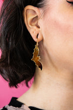 Load image into Gallery viewer, Gold Mirror Acrylic Bat Earrings