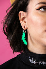 Load image into Gallery viewer, Green Mirror Acrylic Bat Earrings