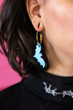 Load image into Gallery viewer, Light Blue Mirror Acrylic Bat Earrings