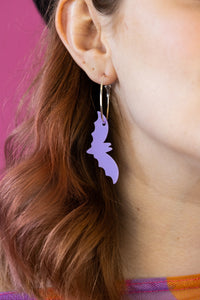 Lilac Solid Acrylic Bat Earrings