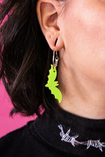 Load image into Gallery viewer, Lime Green Acrylic Bat Earrings