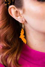 Load image into Gallery viewer, Orange Acrylic Bat Earrings