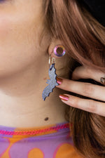 Load image into Gallery viewer, Purple Glitter Acrylic Bat Earrings