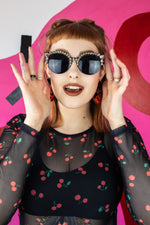 Load image into Gallery viewer, Cat Eye Studded Sunglasses - Silver