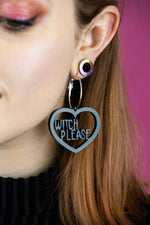 Load image into Gallery viewer, Witch Please Black Acrylic Earrings