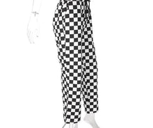 Load image into Gallery viewer, High Waist Checkered Straight Loose Pants - iCaseLeluxe