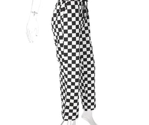 High Waist Checkered Straight Loose Pants - iCaseLeluxe