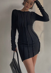Long Sleeve Frills Bodycon Mini Dress