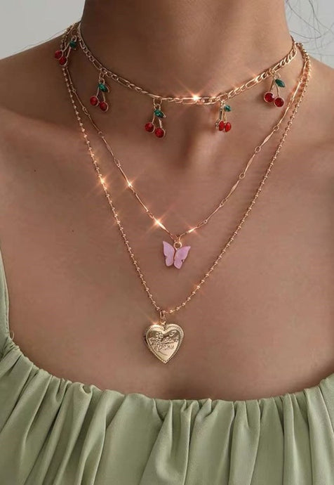Y2k Cherry Butterfly Chain Necklace