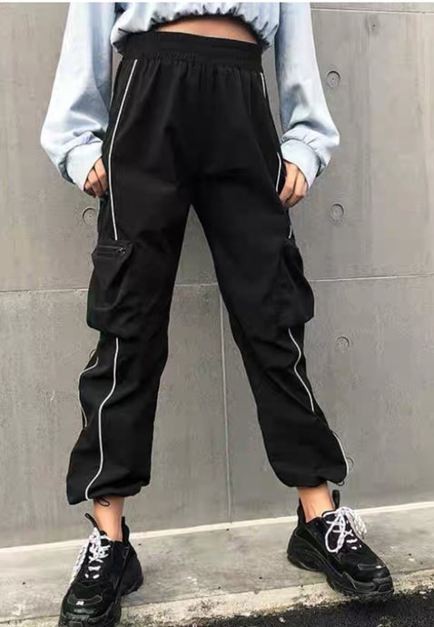 Black Cargo Striped Pants