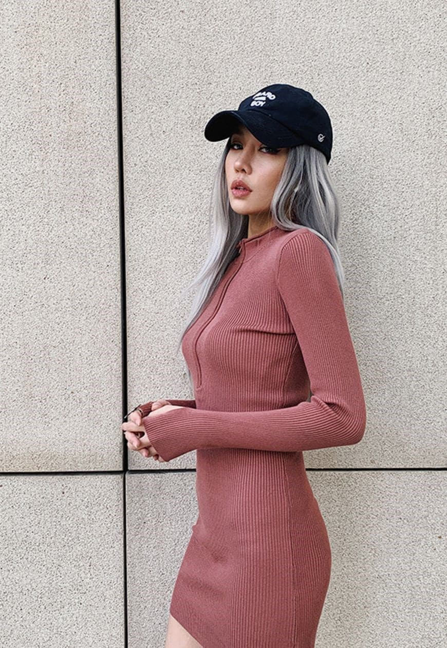 Zip Up Street Mini Dress