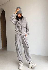 Grey Loose Sweatshirt Joggers set