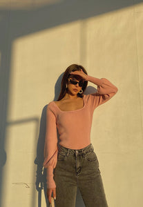 Pink Puffed Long Sleeve Top