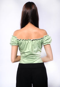 Cropped Ruffled Bow Top