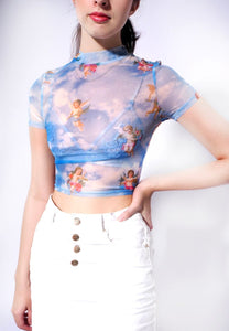 Angel Print Mesh Sexy Crop Top High Neck