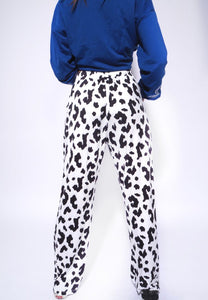 Elastic High Waist Cow Print Pants
