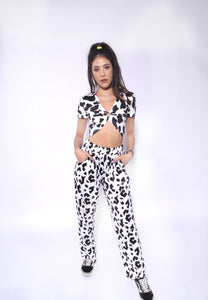 Cropped Cow Print Short Top