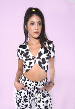 Load image into Gallery viewer, Cropped Cow Print Short Top