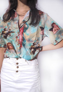 Retro Angel Print Loose Shirt