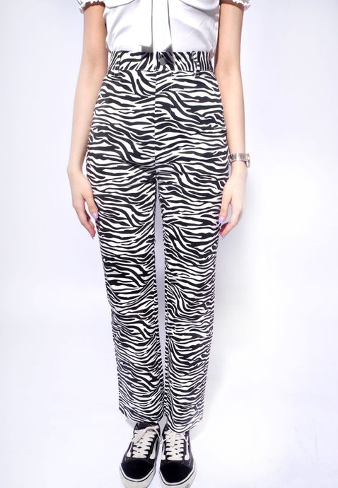 Zebra Print Straight Pants