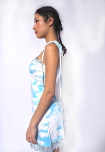 Cloud Print A Line Dress