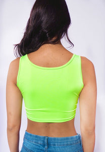 Neon Green Buckle Rave Crop Top
