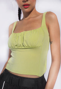 Vintage Aesthetic Ruched Spaghetti Top - Light Green