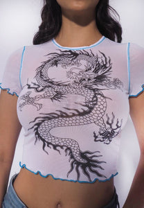 Dragon Print Sheer Crop Top