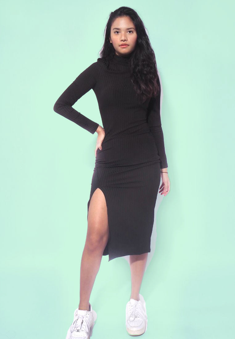Knee-Length Party Slit Dress