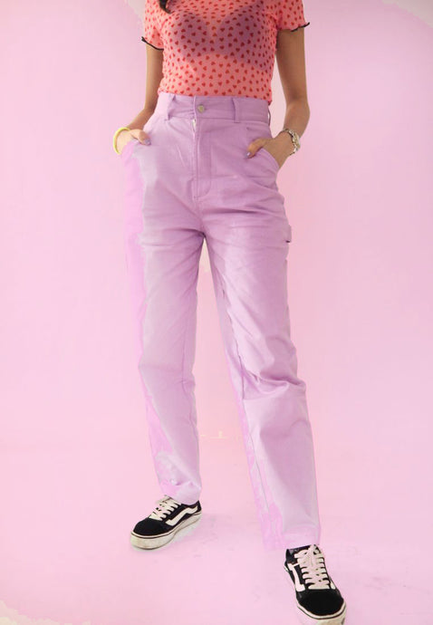 Loose High Waist Pants - Purple