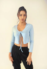 Load image into Gallery viewer, Tie Front Shrug Long Sleeve Crop Top