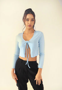 Tie Front Shrug Long Sleeve Crop Top