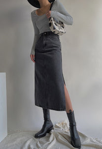 Grey Denim Midi Skirt